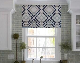 pictures of window valances faux roman shade lined mock valance geometric print navy aqua grey white custom sizing available curtains window treatments etsy