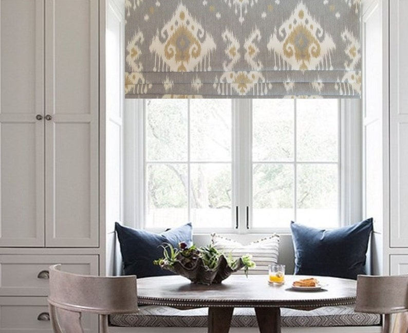 Ikat  Faux Roman Shade/ Lined Mock Valance/ Contemporary image 0