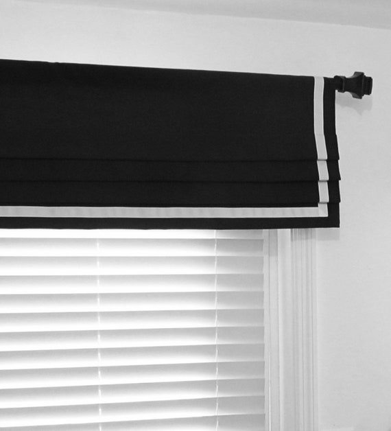 Black And White Ribbon Trimmed Faux Roman Shade Bordered Etsy