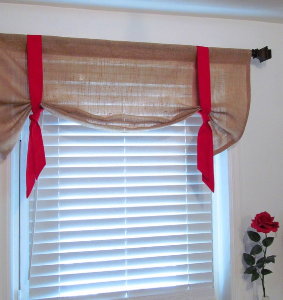 Valance W Burlap Ties And: Items Similar To TIE UP VALANCE Burlap Decorative Natural Red Curtain On Etsy