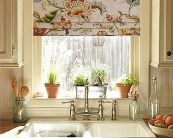 Lined Faux Roman Shade Floral Roman Valance Jacobean Amber Linen Blend Custom Sizing Available!