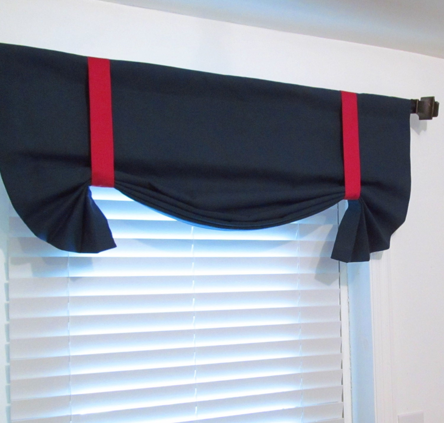 superb Solid Red Valances Part - 13: Nautical Tie Up Valance Solid Navy u0026 Red Lined Curtain- Custom Sizing  Available!