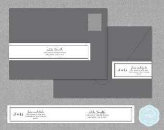 Sophistication Wraparound Mailing Address Label [Printable   DIY   Digital File]