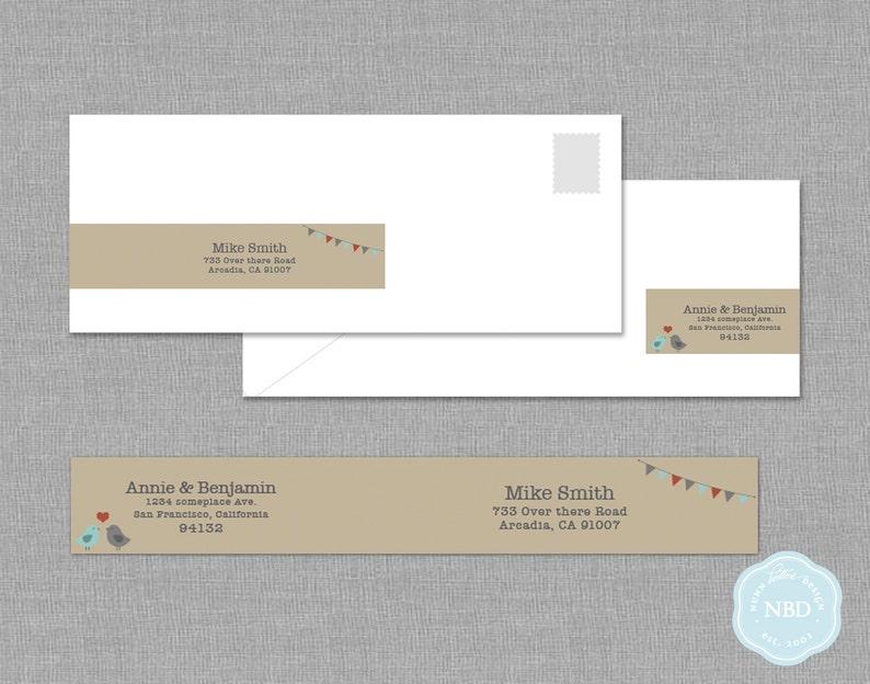 Love Birds Wraparound Mailing Label Printable  DIY  Digital image 1