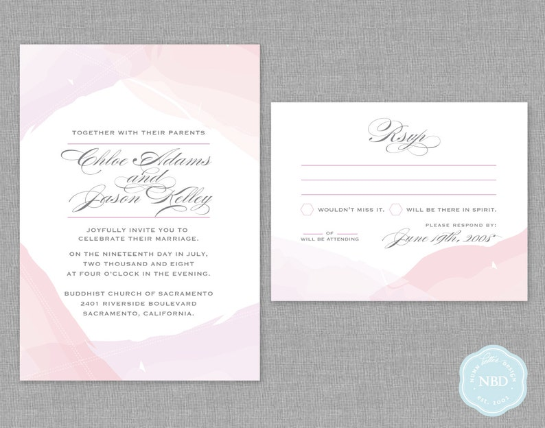 Unity Watercolor Invitation & RSVP Card Printable  DIY  image 1