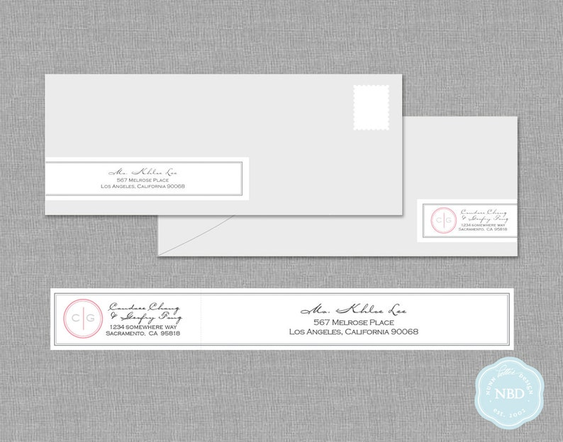 Monogram Wraparound Mailing Address Label Printable  DIY  image 0
