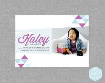 Modern Triangle Photo Invitation [Printable   DIY   Digital File]