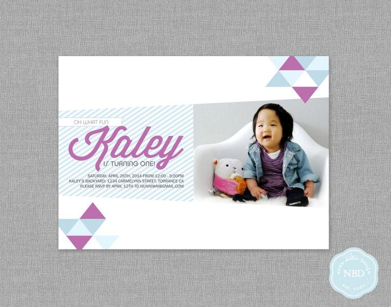 Modern Triangle Photo Invitation Printable  DIY  Digital image 0