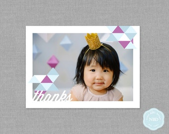 Modern Triangle Photo Thank You Flat Card [Printable   DIY   Digital File]