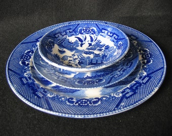 Vintage Made in Occupied Japan, Blue Willow China Place Setting