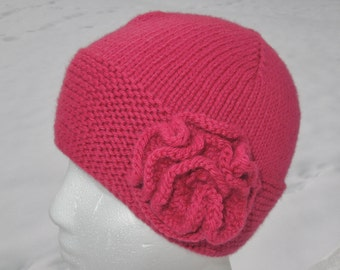 SALE!  HALF PRICE! Hand Knit Teen / Women's Hat with Flower Accent