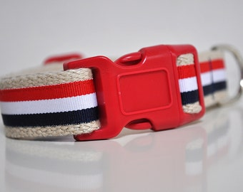 Hemp Webbing Dog Collar  - 'The Patriot' - 50% Profits to Dog Rescue
