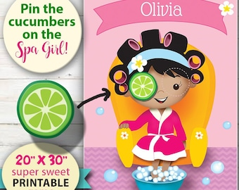 SPA Party Game - You Print - Pin the Cucumber on the Spa Girl. Extra Large, Super sweet game for girl's Spa or Pamper party.