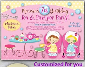 Spa party invitation etsy customized tea party spa party invitations cute day spa invites pamper party invitations pedicure and tea party filmwisefo