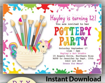 Splatter invitation etsy editable pottery party invitation do it yourself birthday invitation rainbow unicorn theme edit at home with adobe reader solutioingenieria Image collections