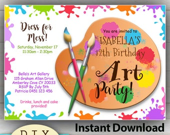 Editable Art Or Painting D I Y Party Invitation Bright And Colorful Instant Download Edit At Home With Adobe Reader