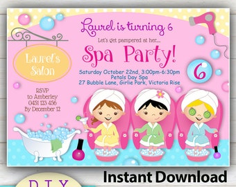 Spa day invitation Etsy