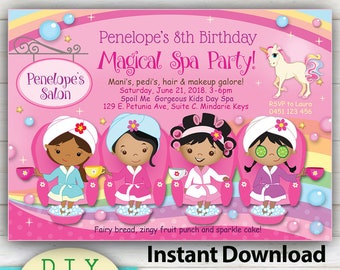 EDITABLE - Magical Spa Party Invitation, Manicure or Pedicure Brown Skin Girls. YOU Edit at home with Adobe Reader, Vibrant print quality.