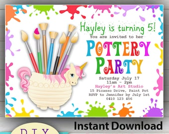 Pottery invitation etsy instant download diy editable pottery party invitation do it yourself birthday invites fun craft invitations vibrant colors filmwisefo