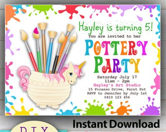 Pottery invitations etsy instant download diy editable pottery party invitation do it yourself birthday invites fun craft invitations vibrant colors solutioingenieria Image collections