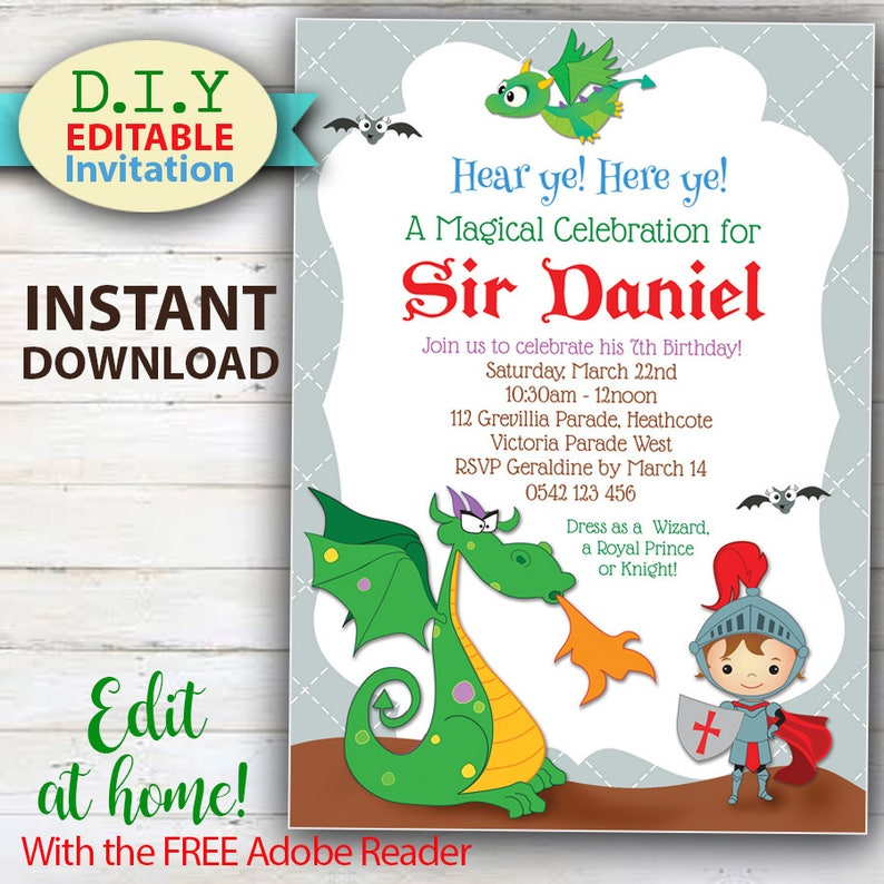 EDITABLE Dragon Knight Invitation Do It Yourself Birthday