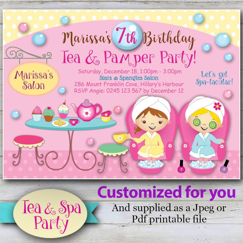 CUSTOMIZED Tea Party Spa Invitations Cute Day Invites Pamper Pedicure And