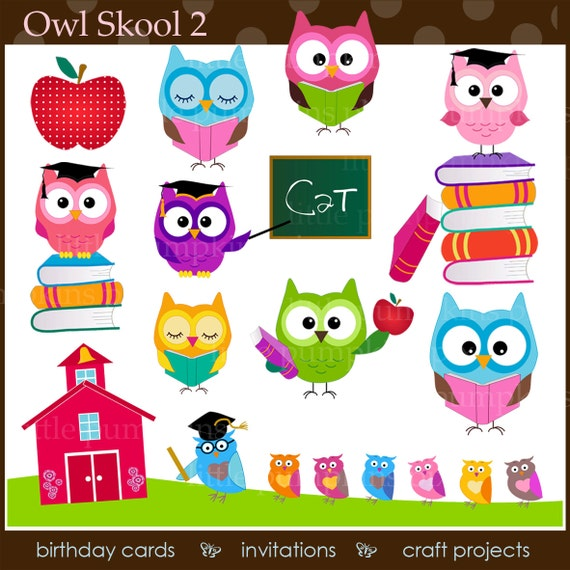 OWL School Clipart Educational Graphics Owl And Blackboard Commercial Use OK Digital Books From UrbanWillow On Etsy