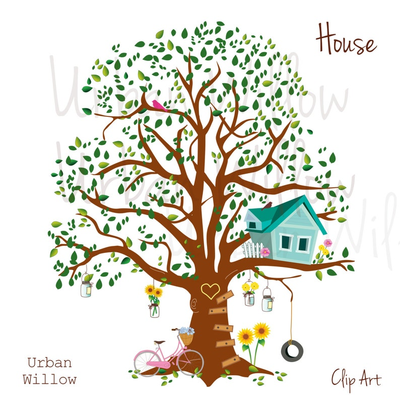 Commercial Use Ok Graphics Tree Cute tree Images Tree house Print Clipart Tree Clip Art Tree House Whimsical Art