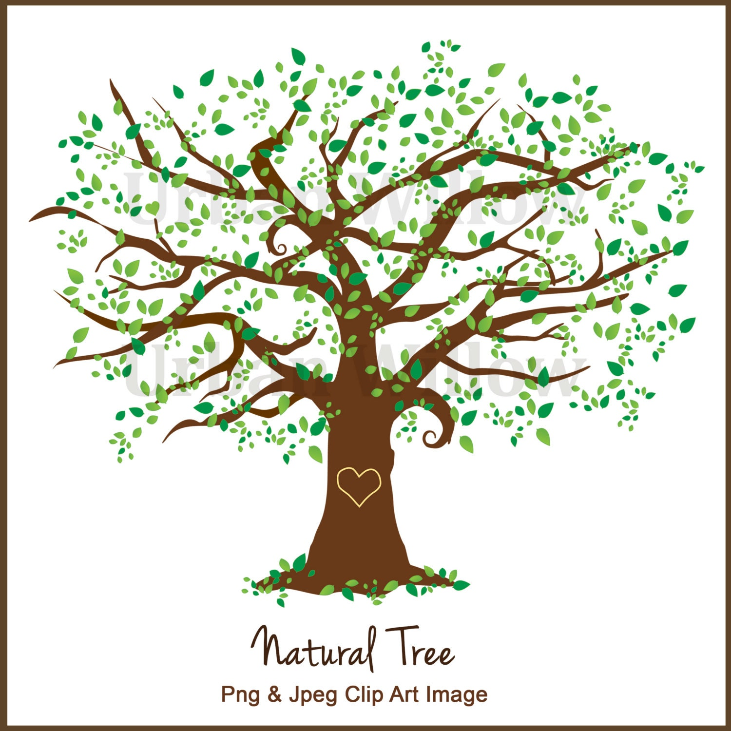 Clipart Tree Clipart Elm Tree Graphics White Oak Maple Tree Clipart Digital Scrapbook Family Tree Green Tree Oak Tree