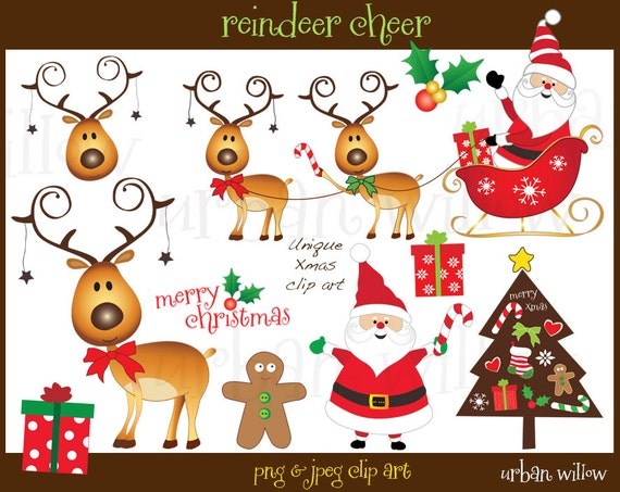 Reindeer Clipart Cute Reindeer And Santa Clipart Funny Santa Funny Reindeer Graphic Christmas Tree Clipart Gingerbread Man Graphics