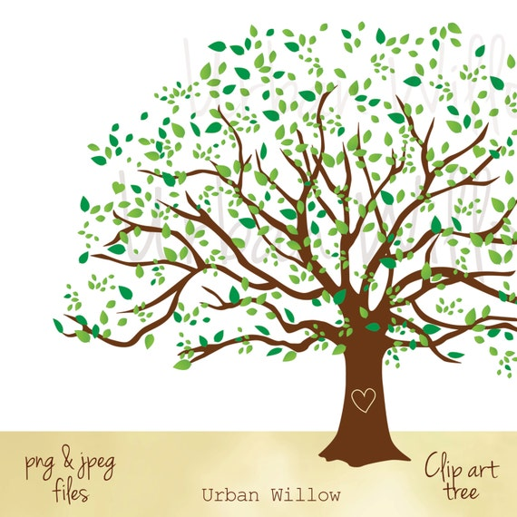 Wedding Tree Genealogy Chart By Melangeriedesign On Etsy: Clipart Natural Tree Large Family Tree Graphic Commercial