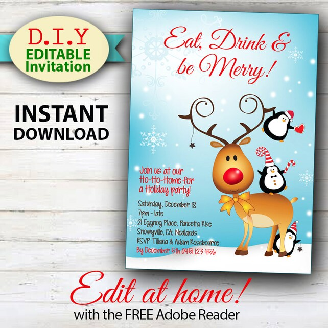 EDITABLE Christmas Invitation, Rudolph & Frost fun Christmas Invitation, Cute Holiday Invitation, Reindeer and Penguins, Instant Download
