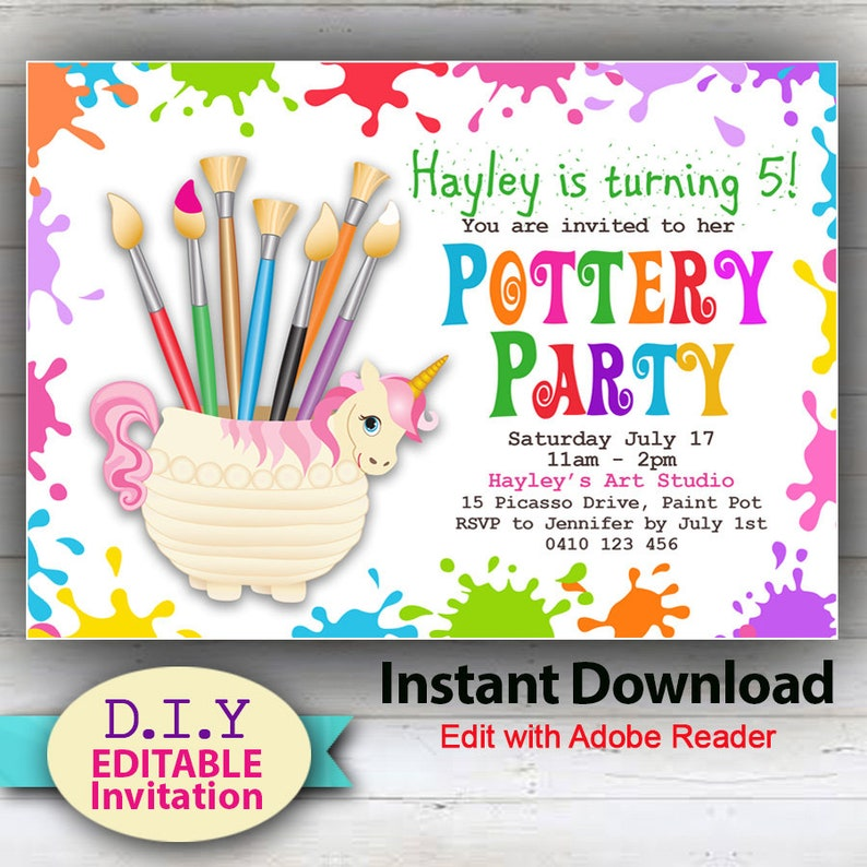INSTANT DOWNLOAD DIY Editable Pottery Party Invitation Do