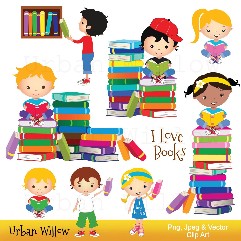 Clip art school kids Clip art Books Reading Clipart Cute ...
