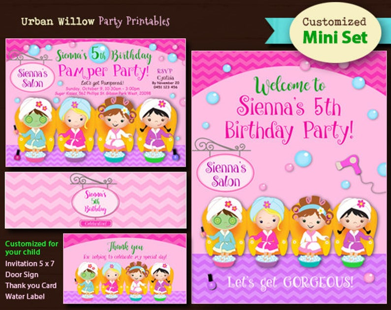 picture regarding Spa Party Printable known as Personalized Spa Get together Printable MINI preset, Pedicure Social gathering, Gals Salon Occasion, Lovable Working day Spa Printables, Pedicure and Manicure.