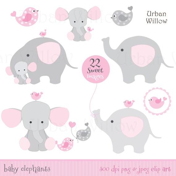 Bebé Niña Elefantes Elefante Clip Art Elefante Lindo Etsy