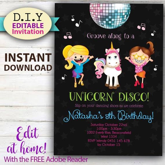 editable unicorn disco party invitation do