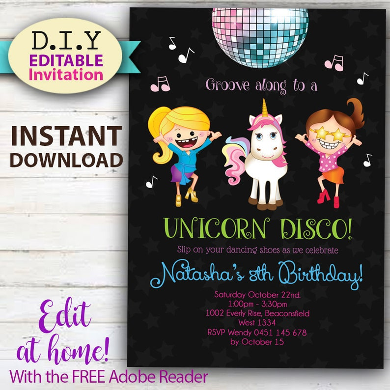 EDITABLE Unicorn Disco Party Invitation Do It Yourself