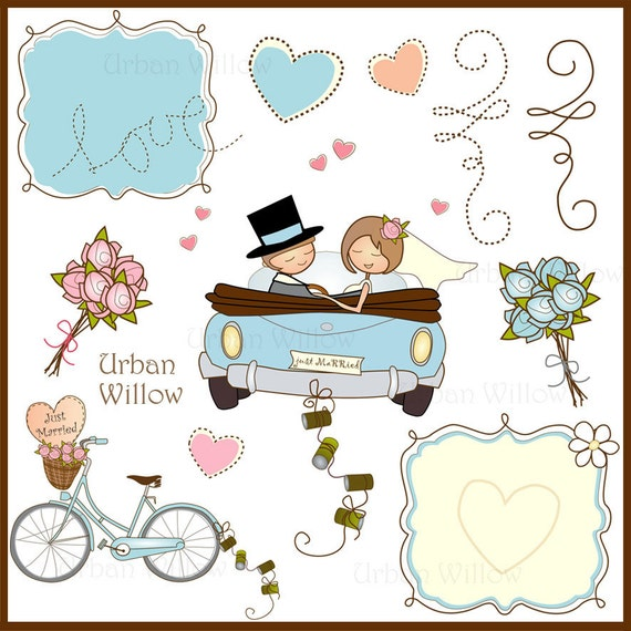 just married car cliparts hochzeit clipart hipster