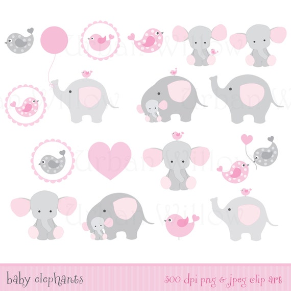BABY GIRL Clipart Cute Elephant Clipart Pink Elephants ...