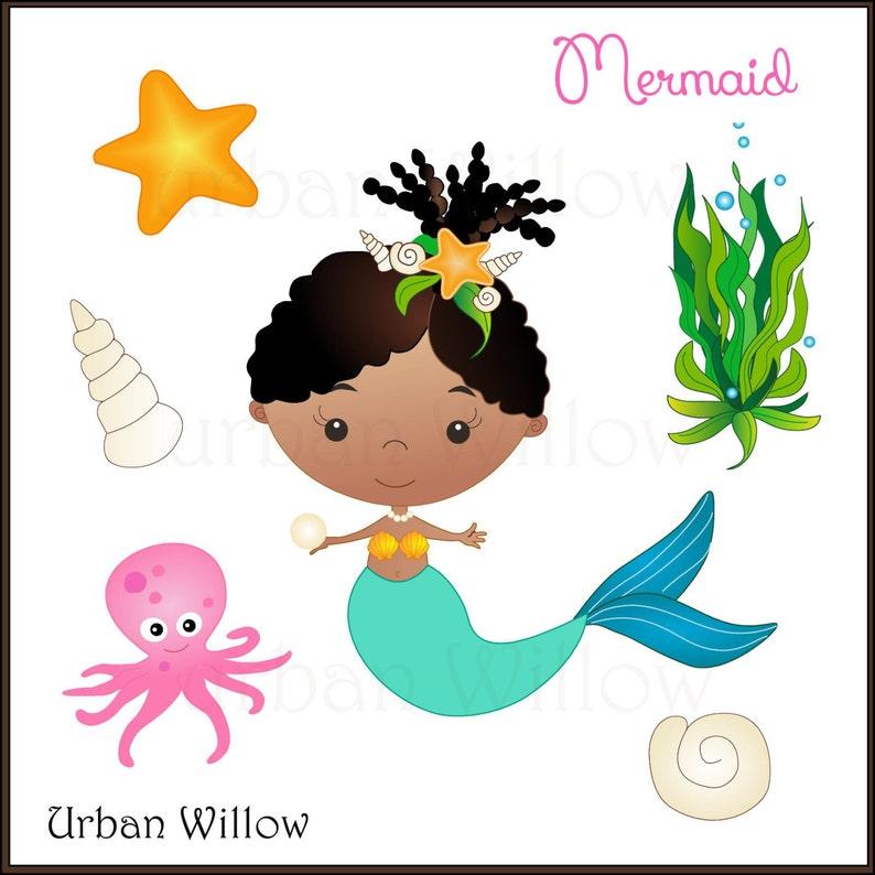 Mermaid on Seahorse African American Mermaid Seashells Cute Girl Clipart Brown Skinned Mermaid MERMAID Clipart African Mermaid