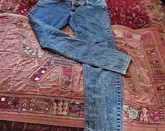 LA MIRAGE - Women's Stonewashed Denim Blue Jeans, Vintage - Medium to Large