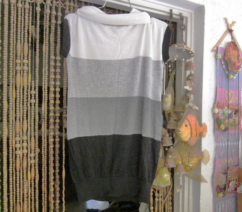 in White Grays and Black Large Vintage Rolling Collar Long Thin Knit Top  Tunic