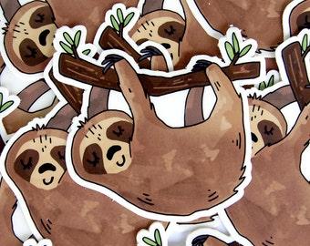 Sleeping Sloth Sticker -  Vinyl Stickers / Sloth Gift / Laptop Sticker / Illustrated / Large Sticker / Die Cut