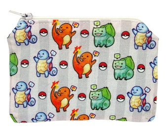 Pokemon Zippered Pouch - Grey Coin Purse / Illustrated Fabric / Geeky Pattern / Video Game Print / Zipper Pouch / Pokemon Go