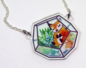 Fox Terrarium Necklace - Acrylic Charm / Succulent Jewellery / Fox Lover Gift / Silver Jewelry / Illustrated Accessory / Plant Terrarium