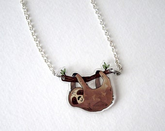 Sleeping Sloth Necklace - Sloth Jewelry / Animal Necklace / Sloth Lover Gift / Sloth Charm Pendant / Illustrated Sloth Accessory / Trendy