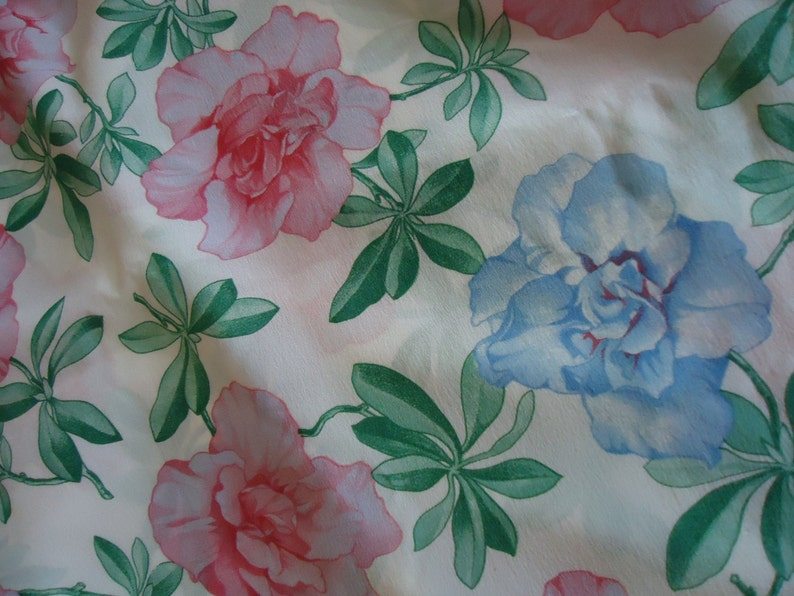 French Hand painted Silk Fabric 3.4 meters Floral Design