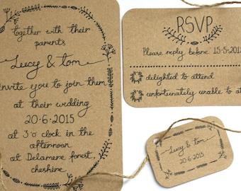 Woodland Wedding invitation set