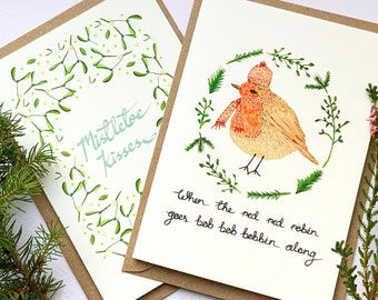 Pack of four illustrated Christmas cards